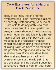 Core Exercises for a Natural Back Pain Cure