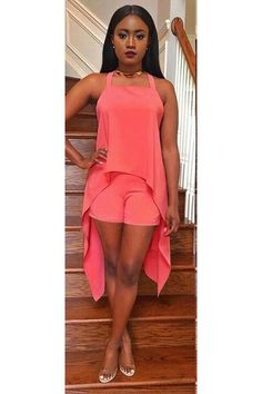 Pure Color Back Cross Irregular Tank Top with Shorts Two Pieces Set
