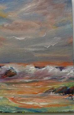 Seascape gail grant california impressionist fine art oil painting  ocean clouds #Impressionism