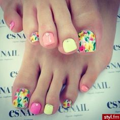 Looking for Toe Nail Art Ideas? You are in luck as our post for today is about 'Toe Nail Art Ideas for Spring So, check out our post below and tell us your thoughts! As we say goo­dbye to… Manicure, Pedicure Nail Art, Pedicure Designs, Toe Nail Designs, Pedicure Ideas, Spring Nail Art, Spring Nails, Feet Nails, My Nails