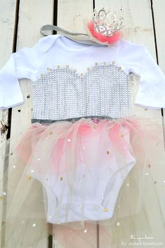 Make this simple No-Sew Princess Costume for your baby. All you need is a onesie, tulle, rhinestones, and glue.   via Make It and Love It