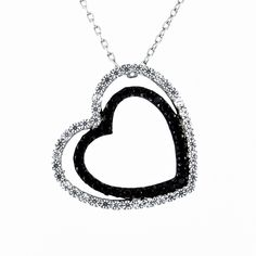 A Vintage Black Diamond Russian Lab Diamond Double Heart Solitaire Pendant Necklace