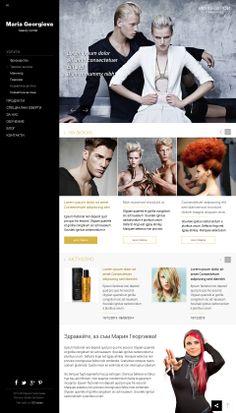 Уеб сайт на салон за красота Мария Георгиева  Уеб сайтът е стилен, излъчването му е идентично с това, което търсят клиентите на салон за красота Мария Георгиева, докато са на фризьорския стол или са подложени на процедури за разкрасяване.