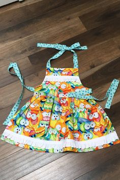 Sunny Owls and Polka Dots Mommy and Me Retro Apron Set  A