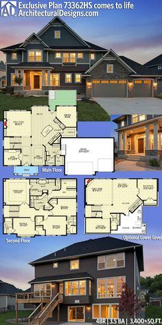 Architectural Designs Exclusive House Plan 73362HS gives you 4 beds, 3.5 baths and over 3,400+sq.ft. of heated living space. Plus an optional fiished lower level. And tons of photos. #73362hs #adhouseplans #architecturaldesigns #houseplan #architecture #newhome #newconstruction #newhouse #homedesign #dreamhome #dreamhouse #homeplan #architecture #architect