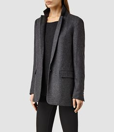 Women's Aito Blazer (Charcoal Grey) - product_image_alt_text_2