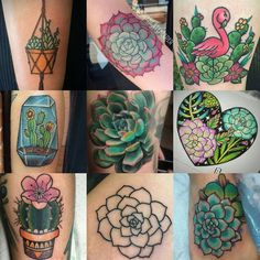 """""""Just a little succulent ink inspo.  Artists are tagged in photo.  So many ideas. I have 2 tattoos in mind now. Just got to find the perfect style and…"""""""