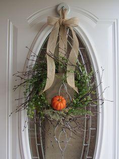 "Autumn Wreath...or remove the pumpkin for a ""less is more"" Autumn through Spring wreath. Love..."
