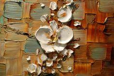 ORIGINAL Impasto orquídea blanca abstracta por ModernHouseArt