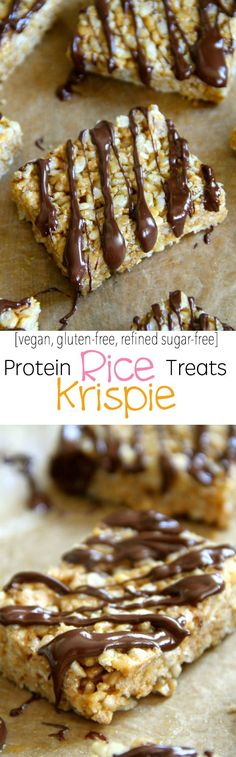 Protein Rice Krispie Treats -- a grown-up twist on a classic childhood favourite! Made without butter or marshmallows, these healthy bars are vegan, gluten-free, refined sugar-free, and make a great balanced snack! || runningwithspoons.com