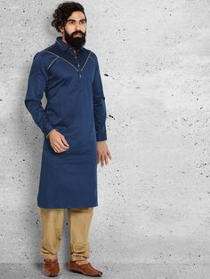 Shop Plain wedding wear navy pathani suit online from G3fashion India. Brand - G3, Product code - G3-MPS0424, Price - 4695, Color - Navy, Fabric - Cotton,