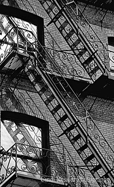 really love the iron detail in this fire escape near Pioneer Square in Washington Black And White Stairs, Black N White, Fire Escape, The Great Escape, Exterior Remodel, Bright Lights, Fine Art Photography, Washington, Iron