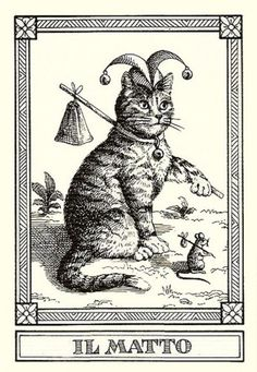 """Il Matto""-- Gatti, by Osvaldo Menegazzi. The deck of 22 tarot cards was published by Il Meneghello in Italy in 1990."