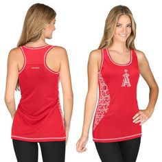 Size L or XL Los Angeles Angels of Anaheim Majestic Women's Homerun Delight Geostripe Racerback Tank Top - Red