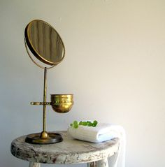 antique vintage brass shaving mirror