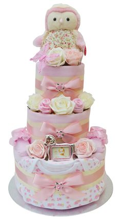 Super sweet 3 Tier 'Pretty in Pink' Nappy Cake by Packaged to Perfection - Our best selling girls nappy cake!!