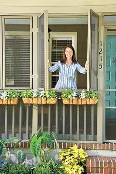 "Screened porches definitely have their good points - protect you from those biting insects - but they also block what can be a beautiful view. This ""shutter"" idea is great!"