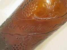 Vtg Amber/brown Glass Bardenheier's Glass Liquor Wine Bottle Grapes Vines Leaves