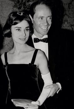 with her husband Mel Ferrer at the London premiere of 'War and Peace', 1956.