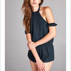 Off the shoulder romper As seen on nasty gal, tobi, off the shoulder open back romper Honey Punch Dresses
