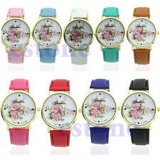Women's Stylish Leather Strap Rose Flower Dial Quartz Analog Dress Wrist Watch