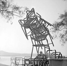 Mylos Island, Photo by Zacharias Stellas Outdoor Chairs, Outdoor Furniture, Outdoor Decor, Greece Pictures, Greece Travel, Vintage Pictures, Old Photos, Monochrome, The Past
