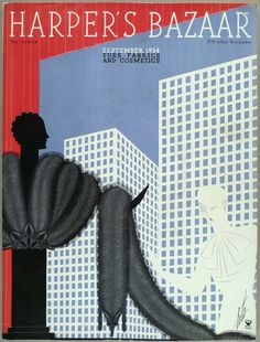 Harper's Bazaar, cover illustration by Erté, September, 1934 Herbert Bayer, Josef Albers, Harper's Magazine, Magazine Covers, Erte Art, Art Nouveau, Romain De Tirtoff, Art Deco Artists, Harper's Bazaar