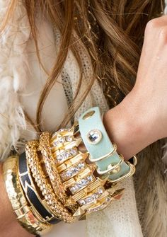 I'm obsessed with arm candy/wrist bling . Jewelry Box, Jewelry Accessories, Fashion Accessories, Fashion Jewelry, Gold Jewelry, Jewlery, Statement Jewelry, Statement Bracelets, Ladies Accessories