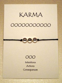 Silver 3 Circle Karma Bracelet on Waxed Irish Linen (Pick your color). $5.00, via Etsy.