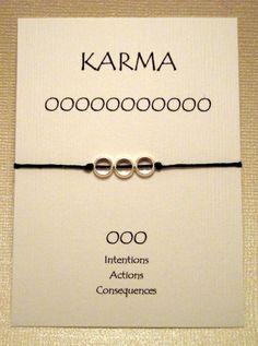 Silver 3 Circle Karma Bracelet on Waxed Irish Linen (Pick your color). $5.00, via Etsy.