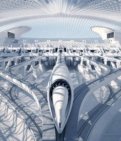 RB Systems proposes an exceptional Hyperloop Station and passenger pod. RB Systems unveiled this impressive futuristic design vision for a Hyperloop station. From the Architects website: Futuristic City, Futuristic Technology, Futuristic Design, Futuristic Architecture, Architecture Design, Minimalist Architecture, Futuristisches Design, Urban Design, Yacht Design