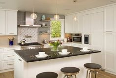 elegant-small-kitchen-design-with-superb-white-cabinetry-and-kitchen-island-plus-round-bar-stools.jpg (1200×808)