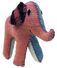 Wool stuffed elephant by Tzotzil weavers from Chiapas.