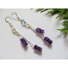 Amethyst Earrings, February Birthstone Earrings, Deep Purple Semi... ($31) ❤ liked on Polyvore featuring jewelry, earrings, wrap earrings, sterling silver amethyst jewelry, amethyst jewelry, polish jewelry and swarovski crystal jewelry