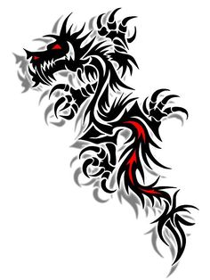 Black  Red Dragon Design