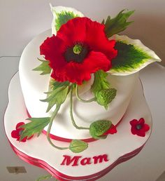 {Festive red Poppy cake by Alison's Bespoke Cakes} Gorgeous Cakes, Pretty Cakes, Amazing Cakes, Mothers Day Cakes Designs, Poppy Cake, Lemon And Coconut Cake, Cake Pictures, Small Cake, Almond Cakes