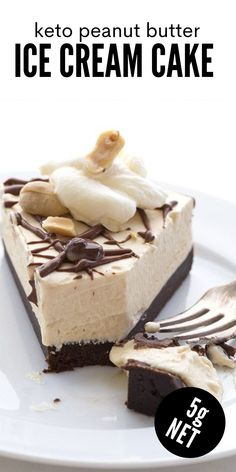This peanut butter ice cream cake is not only low carb and grain-free, it's also no churn and no bake! It's incredibly simple to make but it tastes like you slaved over it. The perfect keto frozen dessert. Sugar Free Desserts, Low Carb Desserts, Frozen Desserts, Easy Desserts, Delicious Desserts, Peanut Butter Ice Cream, Low Carb Peanut Butter, Peanut Butter Brownies, Best Dessert Recipes