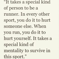 """takes a special kind of person to be a runner."""" takes a special kind of person to be a runner. Running Track, Keep Running, Running Tips, Running Training, Trail Running, Running Memes, Running Quotes, Running Workouts, Marathon Motivation"""