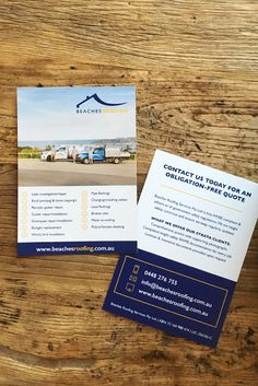 Double sided business cards i designed for a roofing business based a5 flyer design for beaches roofing beaches roofing is a company based in manly reheart Choice Image