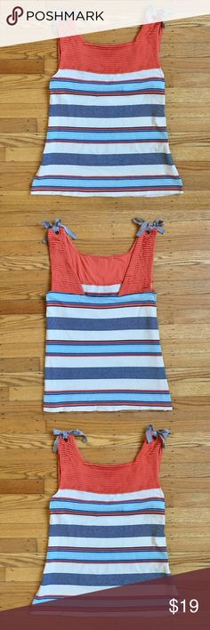 """Anthropologie Postage Stamp ColorBlocked Tie Tank Women's size Large. Preowned with general signs of wear. No stains holes or rips. Vibrant Coloral Pintuck Detailing on top of Stipes of blue, grey and pink. Silver ribbons are adjustable and can be tied multiple ways. Bust 18.5"""" one way. Length approx 25""""  thank you ❤🙏 Anthropologie Tops Tank Tops"""