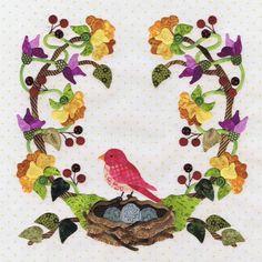 P3 Designs: Baltimore Spring Quilt patterns: Block 3 Nesting Time.