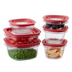 Rubbermaid Premier food storage container with Tritan plastic and Easy Find Lids, Set of 12, Red, FG7J11TRCHIL