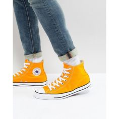 Converse Chuck Taylor All Star Hi Plimsolls In Orange 159674C (£62) ❤ liked on Polyvore featuring men's fashion, men's shoes, men's sneakers, orange, mens high top canvas sneakers, mens high top shoes, mens lace up shoes, mens orange shoes and converse mens sneakers