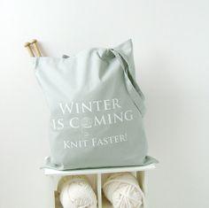 knitting project bag - grey yarn bag (GOT)