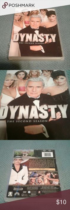Dynasty TV Series Season 2 6 DISCS DVD Set This was watched one time. Time to move it on. Includes all 6 discs which are in great condition. Case shows a little wear. This is the complete second season of Dynasty. Includes a bonus feature, interactive Dynasty family tree. Dynasty Season 2 Other