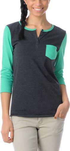 ZUMIEZ Zine Girls Princess Green & Charcoal Henley Shirt, $12.99