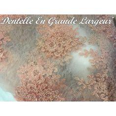 dentelle brodé en couleur vieux rose dentelle pour robes et tailleurs