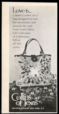 "This is an original 1969 print ad for Enid Collins handbags! It's small, measuring approximately 5.25"" x 2.75"" overall, has no tears or stains, comes from a dry, high-altitude, smoke-free environment, and is strictly graded."