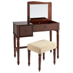 Feel pampered during your daily beauty routine with our vanity set. Featuring a flip-top mirror, pull drawer and an upholstered stool, it brings comfort and style to any bedroom.