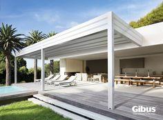 Pergolato addossato in alluminio con copertura scorrevole MED ROOM | Pergolato addossato - GIBUS